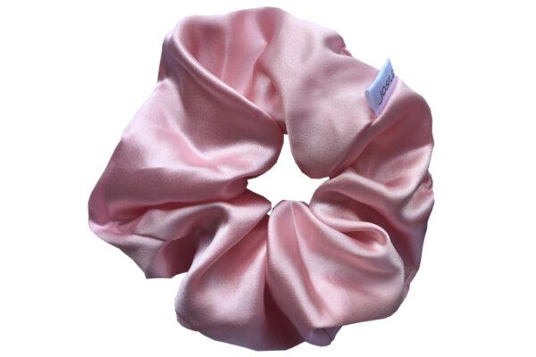 jedwabna gumka do włosów maxi pudrowy róż