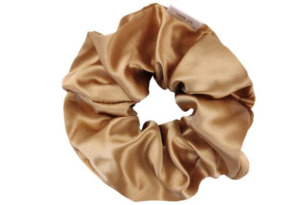 jedwabna gumka do włosów maxi złota