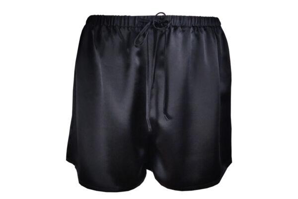 jedwabna dwuczęściowa piżama czarna spodenki